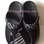รองเท้า Fitflob New หูหนีบ ลูกไม้ สีดำ No.FF379