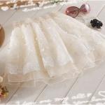 พรีออเดอร์ กระโปรงผ้าลูกไม้ ผ้าชีฟองสีขาว กระโปรงตูตู 2014