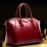 (Pre-order) กระเป๋าหนังแท้ กระเป๋าสะพายผู้หญิง หนังเรียบ แบบคลาสสิค สไตล์ยุโรป อเมริกา สีไวน์แดง