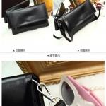 Pre-Order กระเป๋าคลัทช์แบบพับครึ่ง สีดำ ผิวมันเป็นเง กระเป๋าแฟชั่นผู้หญิง เปลี่ยนเป็นกระเป๋าถือออกงานหรูได้ หรือใช้เป็นกระเป๋าสะพายไหล่ได้ สำเนา