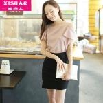 2015 เสื้อผ้าชีฟอง flounced สีชมพุ เปิดโชว์ไหล่ แขนระบายย้วย สวยหวานน่ารักมากๆค่ะ