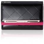 Pre-Order กระเป๋าคลัทช์ กระเป๋าสตางค์ แฟชั่นกระเป๋าถือผู้หญิง หนังแท้ หนังแข็ง ปั้มลายตาข่าย สีดำ-แดง