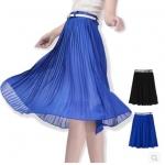 (Pre-order) กระโปรงพลีท ผ้าชีฟอง 2 สี คือ สีดำ และสีฟ้า