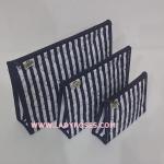 กระเป๋าเครื่องสำอางค์ นารายา ผ้าคอตตอน ทรงสี่เหลี่ยมผืนผ้า ลายทาง น้ำเงิน-ขาว เป็นชุด 3 ชิ้น Size L,M,S (กระเป๋านารายา กระเป๋าผ้า NaRaYa)