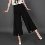 Pre-Order กางเกงขากว้าง กางเกงกระโปรง กางเกงกระโปรงลำลอง ผ้าโพลีเอสเตอร์ผสม สีดำ
