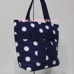 กระเป๋าสะพาย นารายา Summer ผ้าคอตตอน ลายจุด พื้นสีน้ำเงิน จุดขาว ผูกโบว์ (กระเป๋านารายา กระเป๋าผ้า NaRaYa กระเป๋าแฟชั่น)