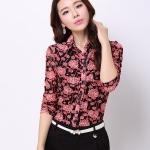 Pre-order เสื้อเชิ้ตชีฟองซีทรู แขนยาว เสื้อทำงาน พิมพ์ลายดอกไม้สีแดง แฟชั่นสไตล์เกาหลี