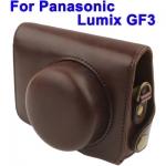 พร้อมส่ง กระเป๋ากล้องหนัง เคสกล้อง Semi Soft Case for Panasonic GF3,With Short Lens สีน้ำตาล