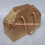 กระเป๋าเดินทาง นารายา ผ้าซาติน สีทอง ทรงสี่เหลี่ยมคางหมู (กระเป๋านารายา กระเป๋า NaRaYa กระเป๋าผ้า)