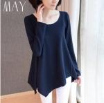 (Pre-order) เสื้อสเวตเตอร์ เสื้อถัก เสื้อคลุม ผ้าโพลีเอสเตอร์ แฟชั่นชั่นเสื้อผ้าเวอร์ชั่นเกาหลี สีน้ำเงินเข้ม