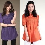 (Pre-Order) เสื้อเชิ้ตผ้าฝ้ายแขนสามส่วน กระดุมหน้า แฟชั่นสไตล์เกาหลี สีม่วง และสีส้ม