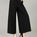 Pre-Order กางเกงผ้าลินิน ขาบาน กางเกงลำลองเหมาะกับฤดูร้อน สีดำ
