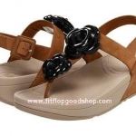 รองเท้า Fitflop Floretta Black Tan ดอกไม้ 2 ดอก รัดส้น สีดำ/สีน้ำตาล No.FF050