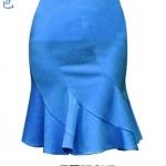 (Pre-Order) Sale 22% กระโปรงทำงานเอวสูง ทรงดินสอ ชายกระโปรงบานย้วยแบบหางปลา สีฟ้า