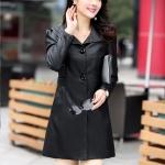 (Pre-order) เสื้อแจ็คเก็ตหนังแท้ เสื้อโค๊ตยาว หนังแกะ แฟชั่นเกาหลี สีดำ
