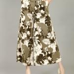 Pre-Order กางเกงผ้าลินินพิมพ์ลาย ขาบาน กางเกงลำลองเหมาะกับฤดูร้อน ลายใบไม้ใหญ่