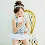 เสื้อผ้าเด็กผู้หญิง เสื้อสีเทาชายระบาย Phelfish