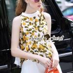Seoul Secret Say's... Lemonny Cami A Shape Chic Set Material : เซ็ทเก๋ๆ ใส่ง่ายๆ ในวันสบายๆ ด้วยเซ็ทเสื้อแขนกุด เติมความสดใสด้วยงานพิมพ์ลายเลมอนสีเหลืองส้มตัดด้วยโทนสีเขียวของใบไม้ ด้านหลังมีดีเทลสวยๆ ด้วยงานเย็บแต่งด้วยผ้านำมาแต่งเป็นโบว์แต่งที่ด้าน