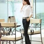 (Pre-Order) กางเกงทำงาน กางเกงขายาว กางเกงแฟชั่นเกาหลีแบบสบาย ๆ ผ้าโพลีเอสเตอร์ใส่สบาย ไม่ยับง่าย