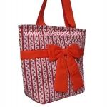กระเป๋าสะพาย นารายา ผ้าคอตตอน ลายปลา สีส้ม ผูกโบว์ (กระเป๋านารายา กระเป๋าผ้า NaRaYa กระเป๋าแฟชั่น)