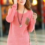 (Pre-Order) เสื้อไหมพรมถักจากผ้าฝ้ายผสมขนสัตว์ แฟชั่นเสื้อสไตล์เกาหลี สีชมพู