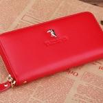 กระเป๋าคลัช กระเป๋าสตางค์ แฟชั่นกระเป๋าผู้หญิงสไตล์ญี่ปุ่น-เกาหลี กระเป๋าหนังแท้สีแดง