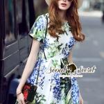 พร้อมส่ง ~ Seoul Secret Say's... Cobaltly Mint Floral Print Dress