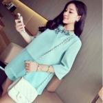 (Pre-Order) เสื้อชีฟองแขนสั้น สีเขียว แฟชั่นเสื้อสไตล์เกาหลีปี 2014