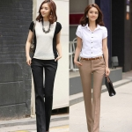 (Pre-Order) กางเกงผู้หญิงทำงาน กางเกงขายาว กางเกงทรงกระบอกตรง เอวธรรมดา ประดับกระดุมที่ขอบกระเป๋า