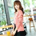 2014 เสื้อคลุมแฟชั่นกันหนาว แขนยาว สีชมพู พิมพ์ลายจุดรวมสี มีกระดุมด้านหน้า สวยหวานน่ารักมากๆค่ะ