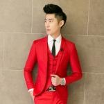 Pre-Order เสื้อสูทผู้ชาย แขนยาว สีแดง