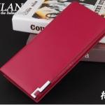 กระเป๋าสตางค์ กระเป๋าคลัทช์สำหรับผู้ชาย แฟชั่นกระเป๋าสไตล์อิตาลี หนังแท้ ปั้มลายผ้า หนังนิ่ม สีแดง