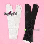 ถุงมือแฟนซ๊ คอสเพลย์ cosplay = ถุงมือยาวเลยศอก รุ่นย่น (เลือกสีด้านในค่ะ) =
