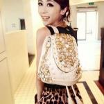 (Pre-Order) กระเป๋าแฟชั่นเกาหลี กระเป๋าแฟชั่นปักหมุด NANING9 แฟชั่นกระเป๋าสะพายสไตล์เกาหลี สีครีม