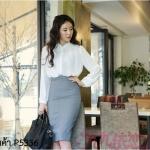 Pre-Order กระโปรงทำงาน ทรงตรง ผ้าเสิร์จเนื้อดี สีเทา สำหรับสาวออฟฟิศ แฟชั่นเกาหลี