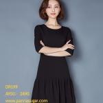 Pre-order ชุดเดรสทำงาน เดรสลำลอง เสื้อแขนสามส่วน ผ้าโพลีเอสเตอร์ผสม เสื้อผ้าสไตล์เกาหลี สีดำ