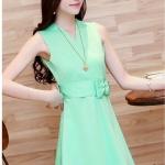 Pre-Order ชุด Sundress ชุดแซคลำลอง เนื้อผ้าผสม สีเขียว แฟชั่นสไตล์เกาหลี ปี 2014