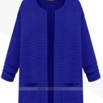 (Pre-Order) เสื้อไหมพรม เสื้อสเวตเตอร์ ถักจากผ้าฝ้าย แฟชั่นเสื้อสไตล์เกาหลี สีน้ำเงิน