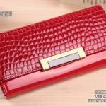 กระเป๋าสตางค์ กระเป๋าถือ กระเป๋าบัตร กระเป๋าหนังแท้ หนังนิ่ม แฟชั่นกระเป๋าถือสไตล์เกาหลี สีแดง