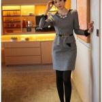 Pre-Order ชุดเดรสผู้หญิงทำงาน ชุดกระโปรงสั้น เสื้อคอกลม แขนยาว แต่งระบายด้านหน้า แฟชั่นเสื้อผ้าเกาหลี สีเทา