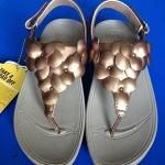 รองเท้า Fitflob Fleur Strap Pale ดอกไม้ 5 ดอก รัดส้น สีน้ำตาลทอง No.FF043