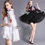 Sevy Embroidered Flora Light Lace Long Sleeve Shirt Type: Shirt Fabric: Lace Detail: เสื้อเชิ้ตผ้าลูกไม้คอกปก ปักลายนูนรูปดอกช่วงอก ไล่ไปถึงชายแขนเสื้อและด้านหลังเชิ้ต งานปักละเอียดปราณีต มาพร้อมซับในสายเดี่ยวให้นะคะ มีมาให้เลือก สอง สี ขาว และ ดำ