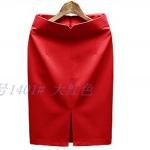 Pre-Order กระโปรงทำงาน ทรงตรง ผ้าสูท สีแดง สำหรับสาวสะโพกใหญ่ ต้นขาใหญ่ กระโปรงทำงานแฟชั่นเกาหลี