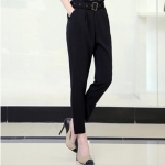 Pre order กางเกงทำงาน กางเกงลำลอง กางเกงฮาเร็ม จับจีบด้านหน้า กางเกงแฟชั่นเกาหลี สีดำ