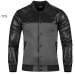 Pre-Order เสื้อแจ็คเก็ตหนัง คอจีน ทูโทน แขนยาว สีดำ-เทา