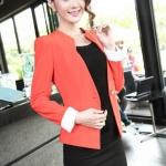 เสื้อสูทผู้หญิง สูทบาง ฝีมือตัดเย็บระดับ High -end นำเข้าจากประเทศเกาหลีแท้ แขนยาว สีส้มโอลด์โรส