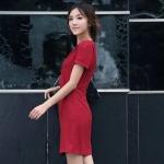 Pre-Order ชุดเดรสทำงาน ชุดแสคทำงาน ผ้าโพลีเอสเตอร์ผสม สีแดง แขนสั้น สไตลื Luxury แฟชั่นสไตล์เกาหลี ปี 2014 มีบิ๊กไซส์