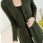 (Pre-Order) เสื้อไหมพรมถักจากผ้าขนสัตว์แคชเมียร์ แฟชั่นเสื้อสไตล์เกาหลี สีเขียวเข้ม