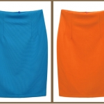 พร้อมส่ง กระโปรงทำงาน เอวสูง สีฟ้า ผ้ายืดสีพื้น ไม่มีขอบเอว Sale 10%