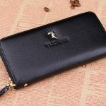 กระเป๋าคลัช กระเป๋าสตางค์ แฟชั่นกระเป๋าผู้หญิงสไตล์ญี่ปุ่น-เกาหลี กระเป๋าหนังแท้สีดำ